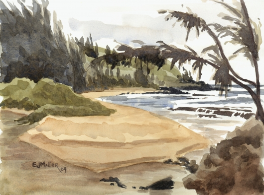 Moloaa Beach river mouth, Plein Air Kauai watercolor painting - Artist Emily Miller's Hawaii artwork of moloaa, beach, ocean, river art