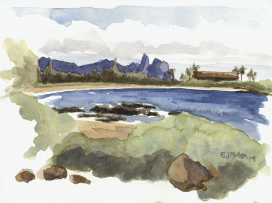 Plein Air at Lydgate - looking to Wailua River Kauai watercolor painting - Artist Emily Miller's Hawaii artwork of lydgate, beach, ocean, kalalea art