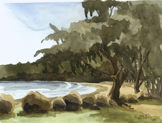 Plein Air at Hanamaulu Beach Park, Makai — Kauai beaches - beach, ocean, hanamaulu artwork by Emily Miller