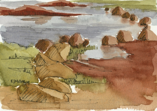 Plein Air at Salt Pond - salt flats Kauai watercolor painting - Artist Emily Miller's Hawaii artwork of  art