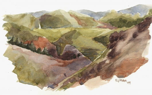 Plein Air at Waimea Canyon Kauai watercolor painting - Artist Emily Miller's Hawaii artwork of waimea canyon art