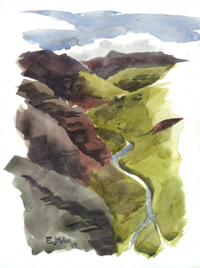 Plein Air at Waimea Canyon - Waimea River Kauai watercolor painting - Artist Emily Miller's Hawaii artwork of waimea canyon, river art