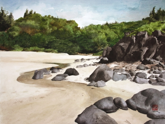 High Tide at Kaluakai Beach Kauai watercolor painting - Artist Emily Miller's Hawaii artwork of kilauea, beach art