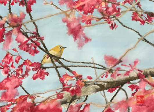 Mejiro in Cherry Blossoms Kauai watercolor painting - Artist Emily Miller's Hawaii artwork of pink, flowers, cherry blossoms, bird, mejiro, japanese white-eye art