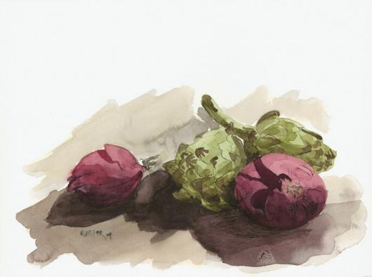 Still Life, Red Onions & Artichokes, 2009