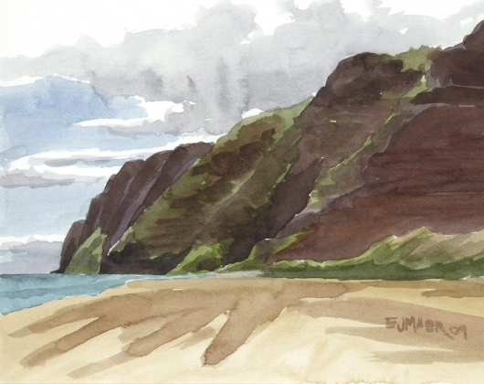 Plein Air at Polihale 3 - Na Pali cliffs Kauai watercolor painting - Artist Emily Miller's Hawaii artwork of na pali, cliffs, polihale, beach, ocean art
