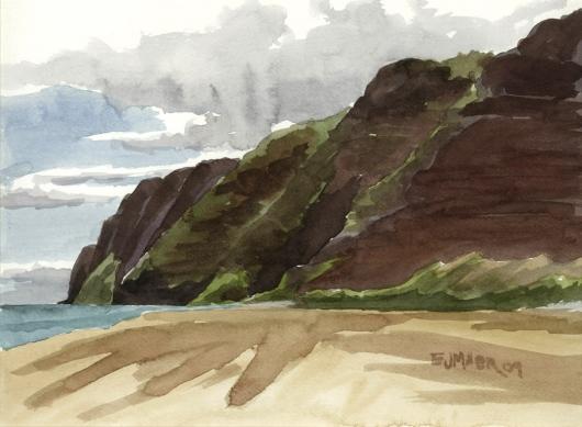 Plein Air at Polihale 3 - Na Pali cliffs, 2009 •