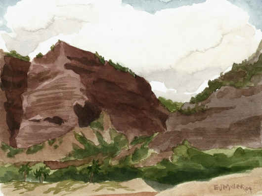 Plein Air at Polihale 4 - the cliffs Kauai watercolor painting - Artist Emily Miller's Hawaii artwork of polihale, cliffs, beach art