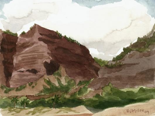 Plein Air at Polihale 4 - the cliffs, 2009