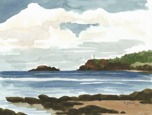 Anini Beach & Kilauea Lighthouse, Plein Air Kauai watercolor painting - Artist Emily Miller's Hawaii artwork of anini beach, beach, kilauea, lighthouse, ocean art