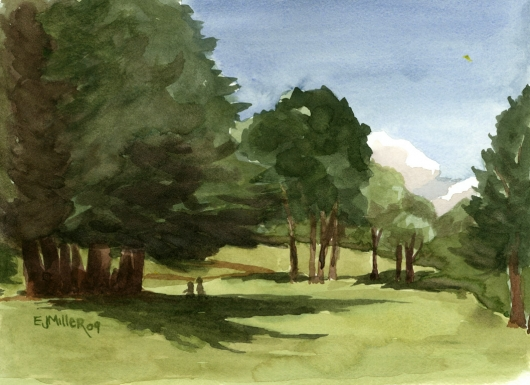 Plein Air at Kokee Meadow, Mauka — the mountains - kokee, trees artwork by Emily Miller