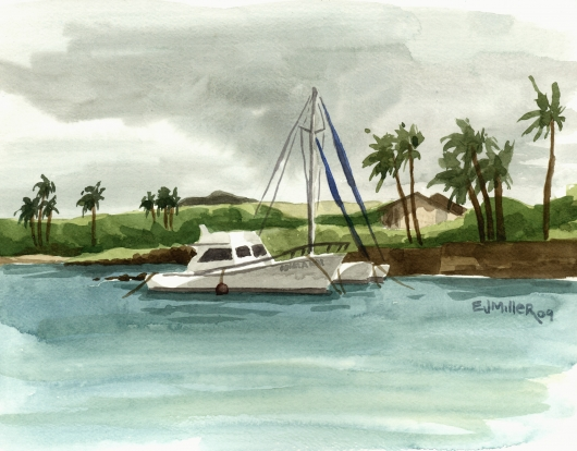 Catamaran at Kukuiula Harbor, plein air Kauai watercolor painting - Artist Emily Miller's Hawaii artwork of boats, fishing, poipu, kukuiula, catamaran, ocean art