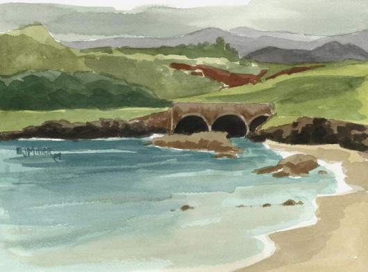 Bridge at Kukuiula Harbor, plein air, Makai — Kauai beaches - kukuiula, poipu, ocean, beach artwork by Emily Miller