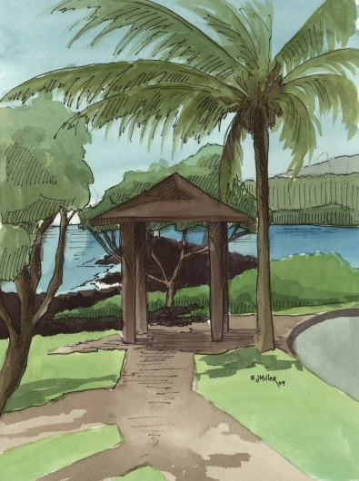 Plein Air at Kukuiula Harbor 3 Kauai watercolor painting - Artist Emily Miller's Hawaii artwork of kukuiula, poipu, palm trees, ocean art