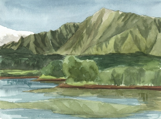 Plein Air at Wailua Reservoir Kauai watercolor painting - Artist Emily Miller's Hawaii artwork of  art