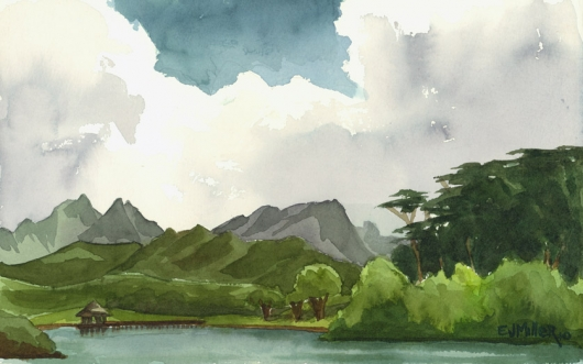 Gazebo on the Lake, Kauai Ranch - Plein Air Kauai watercolor painting - Artist Emily Miller's Hawaii artwork of lake, mountains art