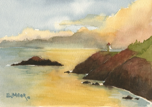 Plein Air, sunset over Kilauea Lighthouse Kauai watercolor painting - Artist Emily Miller's Hawaii artwork of kilauea, lighthouse, sunset, ocean, cliffs art