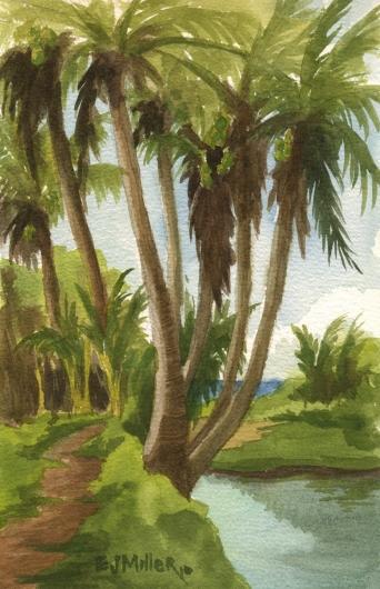Plein Air at Papaa Bay lagoon, Makai — Kauai beaches - palm trees, stream, papaa, anahola artwork by Emily Miller