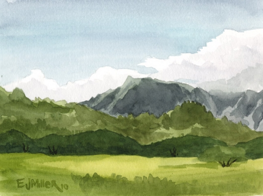 Plein Air, Kapaa bypass Kauai watercolor painting - Artist Emily Miller's Hawaii artwork of pasture, mountains, kapaa art
