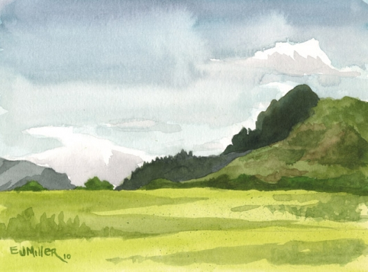 Plein Air, Kapaa bypass 2, Mauka — the mountains - pasture, kapaa, mountains artwork by Emily Miller