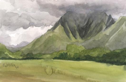 Plein Air, Kapaa mountains, 2010