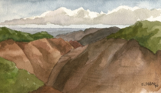 Plein Air, Waimea Canyon to the sea Kauai watercolor painting - Artist Emily Miller's Hawaii artwork of waimea canyon art