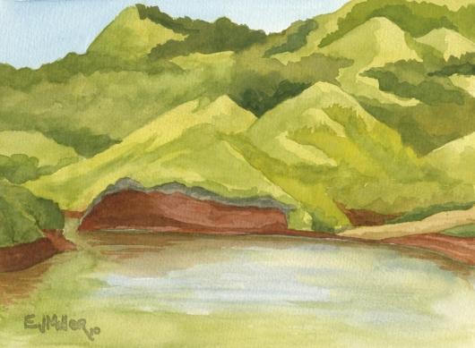 Mountain Lake at Kauai Ranch, Mauka — the mountains - lake, pond, mountain artwork by Emily Miller