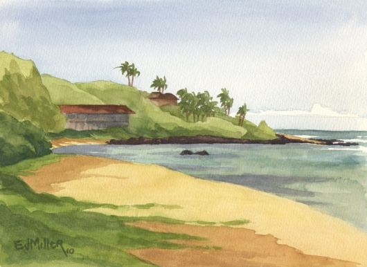 Plein Air at Papaa Bay beach Kauai watercolor painting - Artist Emily Miller's Hawaii artwork of papaa, beach, ocean, anahola, palm trees art