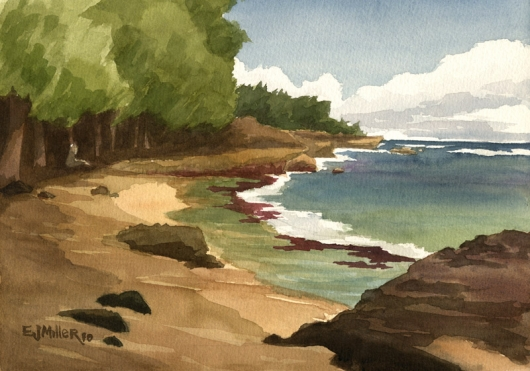 Plein air at Mahaulepu Cove Kauai watercolor painting - Artist Emily Miller's Hawaii artwork of mahaulepu, beach, ocean, poipu, reef art