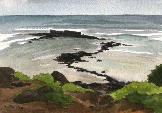 Kealia Reef, Plein Air Kauai watercolor painting - Artist Emily Miller's Hawaii artwork of kealia, reef, ocean art