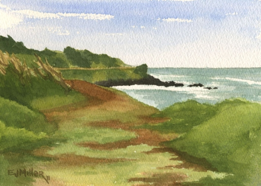 Back to Kealia bike path Kauai watercolor painting - Artist Emily Miller's Hawaii artwork of ocean, kealia, kapaa art