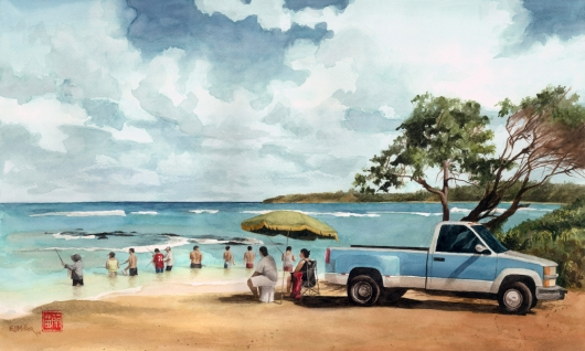 Oama at Aliomanu, Noho 'ana — Kauai life - umbrella, truck, fishing, beach, anahola, aliomanu, ocean artwork by Emily Miller