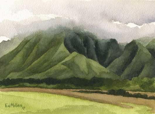 Wailua mountain waterfalls, Mauka — the mountains - green, mountain, waterfalls, kapaa, wailua artwork by Emily Miller