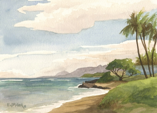 Looking towards Lihue Kauai watercolor painting - Artist Emily Miller's Hawaii artwork of kapaa, beach, ocean art