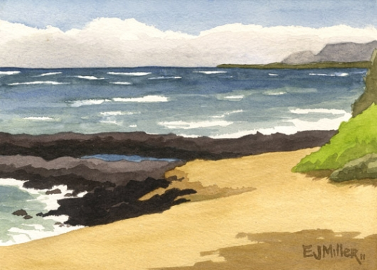 Plein Air at Bullshed beach Kauai watercolor painting - Artist Emily Miller's Hawaii artwork of beach, ocean, kapaa art
