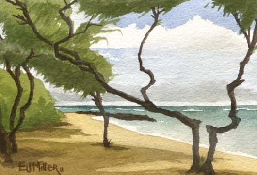 Ironwoods at Bullshed beach Kauai watercolor painting - Artist Emily Miller's Hawaii artwork of trees, ocean, beach, kapaa art