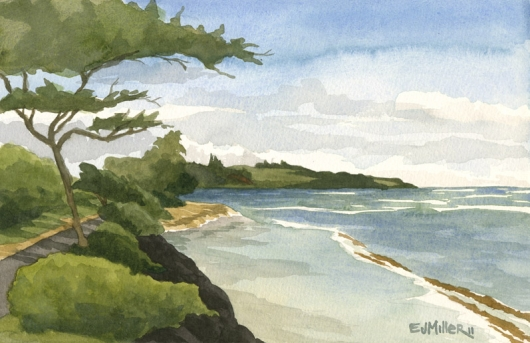 Plein air at Baby Beach, Kapaa Kauai watercolor painting - Artist Emily Miller's Hawaii artwork of kapaa, beach, ocean art