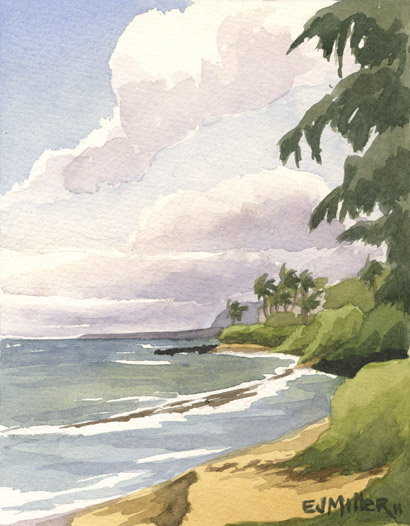 Back to Baby Beach, Kapaa Kauai watercolor painting - Artist Emily Miller's Hawaii artwork of kapaa, beach, ocean art