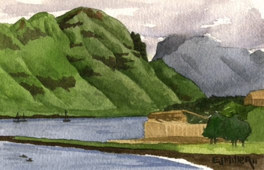 Kalapaki Bay overlook Kauai watercolor painting - Artist Emily Miller's Hawaii artwork of kalapaki, nawiliwili, harbor, ocean, cliffs, mountains art