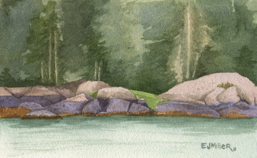 Rock Study 1 of Freese Island, Down East Maine -  artwork by Emily Miller