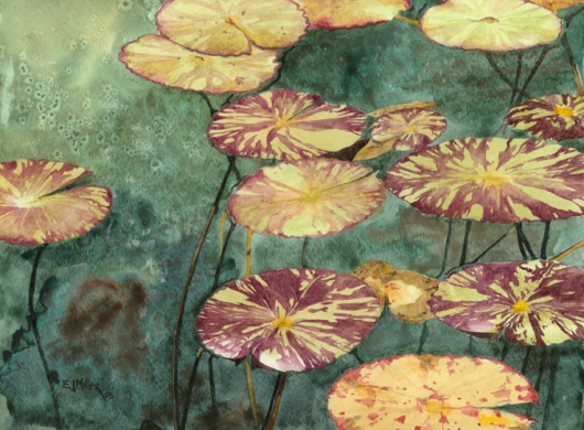 Pads Kauai watercolor painting - Artist Emily Miller's Hawaii artwork of lily pads art