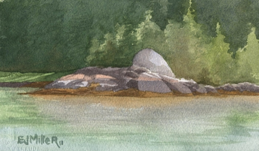 Rock Study 2 of Freese Island, Down East Maine -  artwork by Emily Miller