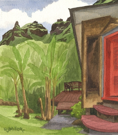 Red Door, Limahuli Kauai watercolor painting - Artist Emily Miller's Hawaii artwork of house, na pali, limahuli, haena art