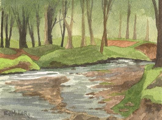 Plein Air at the Arboretum, Mauka — the mountains - river, kapaa, arboretum, trees artwork by Emily Miller
