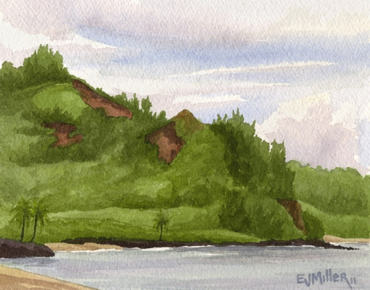 Plein Air at Waikoko Beach, Hanalei Kauai watercolor painting - Artist Emily Miller's Hawaii artwork of Hanalei bay, Hanalei Kauai beach art