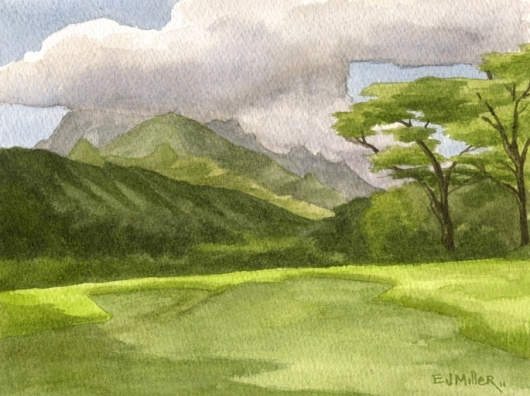 Plein Air, Keapana Road Kauai watercolor painting - Artist Emily Miller's Hawaii artwork of kapaa, green, mountains art