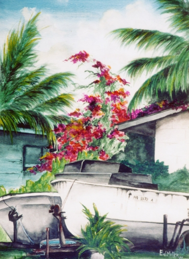 Puhi Kauai watercolor painting - Artist Emily Miller's Hawaii artwork of flowers, bougainvillea, boats, fishing, palm trees art