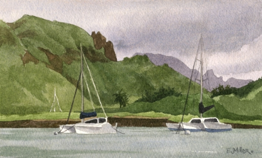 Catamarans at Nawiliwili Harbor, Makai — Kauai beaches - boats, catamaran, cliffs, mountains, lihue, ocean, nawiliwili artwork by Emily Miller