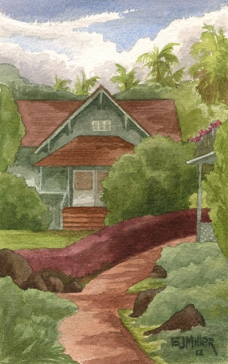 NTBG Visitor Center Kauai watercolor painting - Artist Emily Miller's Hawaii artwork of house, NTBG, poipu art