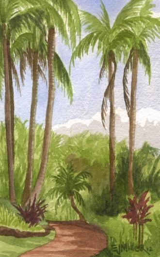 Garden path, NTBG, Mauka — the mountains - palms, palm trees, poipu, NTBG artwork by Emily Miller